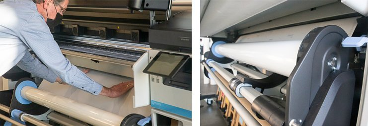De enige manuele handeling bij het starten met een nieuwe rol is het invoeren van de beginstrook. De printer pakt het daarna over en voert het substraat verder door het printpad langs de koppen en de droogsectie.